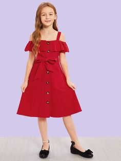 To find out about the Girls Cold Shoulder Belted Dress at SHEIN, part of our latest Girls Dresses ready to shop online today! Trendy Outfits, Kids Outfits, Cute Outfits, Fashion Kids, Girl Fashion, Cute Girl Dresses, Casual Belt, Belted Dress, Kind Mode