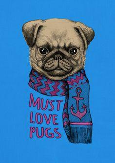 Must Love Pugs Art Print