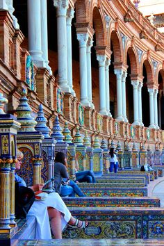 Plaza de España, Seville, Spain...used to hang out on these steps at nite with a few drinks before going dancing...oh memory lane