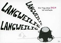 Olaf das Grummelschaf und Poppy Postkarte mit lustigen Sprüchen - Ein Tag ohne Dich ist einfach: LANGWEILIG Postkarten Liebe