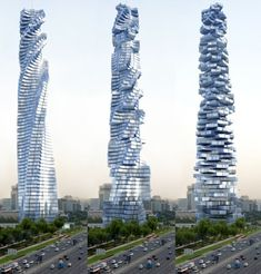 The Dynamic Tower (also known as Da Vinci Tower) in Dubai.  Uniquely, each floor will be able to rotate independently. This will result in a constantly changing shape of the tower. Mind blowing.