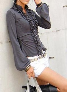 That blouse w/ jeans = so cute!!  Gray Three-Quarter\ Long Sleeve Top - Ruffled Fitted Chic Blouse SALE | UsTrendy