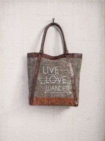 Live Love Wander - Reclaimed Canvas Tote Bag