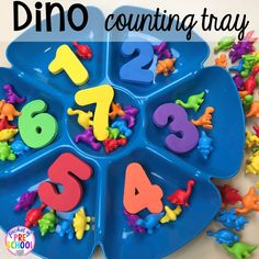 Dinosaur Themed Activities & Centers for Little Learners Dinosaur counting tray plus tons of dinosaur themed activities & centers your preschool, pre-k, and kindergarten students will love! Preschool Centers, Preschool At Home, Activity Centers, Preschool Classroom, Preschool Crafts, Crafts For Kids, Preschool Ideas, Classroom Ideas, Daycare Curriculum