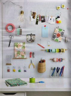 Pegboards will not work well for you without pegboard devices. You'll need a few of them to hang, shop or screen things in your wardrobe. There are entire pegboard device sets on the . Read Best Pegboard Ideas, Type of Fancy Accessories Space Crafts, Home Crafts, Arts And Crafts, Craft Space, Craft Rooms, Craft Organization, Craft Storage, Organizing Crafts, Organising