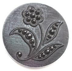Pictorial Black Glass Button  Medium by KPHoppe on Etsy  http://www.hoppeglass.com