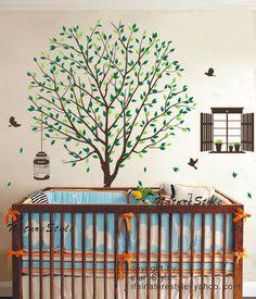 Árbol de etiqueta con vuelo aves  vinilo pared por NatureStyle