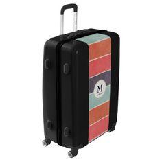 #Muted Rainbow Stripes Monogram Luggage Suitcase - #travel #bags