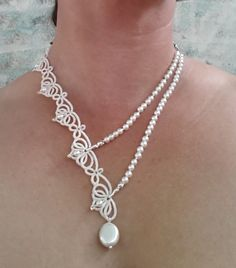 Tatting lace necklace with white pearls and seed beads Toho Tatting Necklace, Tatting Jewelry, Lace Jewelry, Tatting Lace, Jewelry Crafts, Wedding Jewelry, Handmade Jewelry, Beaded Necklace, Knitted Necklace