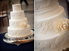 gorgeous cake with lace accents