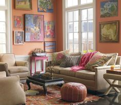 Image result for coastal blue and terracotta living room
