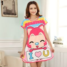 2015 New Style  Women's Cartoon Polka Dot Sleepwear Pajamas Short Sleeve Cute Nightdress Retail/Wholesale♦️ B E S T Online Marketplace - SaleVenue ♦️👉🏿 http://www.salevenue.co.uk/products/2015-new-style-womens-cartoon-polka-dot-sleepwear-pajamas-short-sleeve-cute-nightdress-retailwholesale/ US $3.56