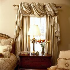 Faux dupion silk curtains that puddle on the floor in white or ...
