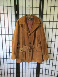 Vintage 1970s Jacket Copper Brown Corduroy Belted 50 by girlgal6