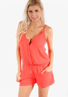 This romper features a simple design.A double spaghetti strap design.Front gold buttoned with an elastic banded waistline.Two front pockets for comfort.Soft chiffon material and lightweight.-32