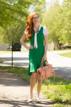 Review: Happiness Boutique- Floral Statement Necklace and Emerald and Pearl Drop Earrings - Elegantly Dressed & Stylish - Over 40 Fashion Blog