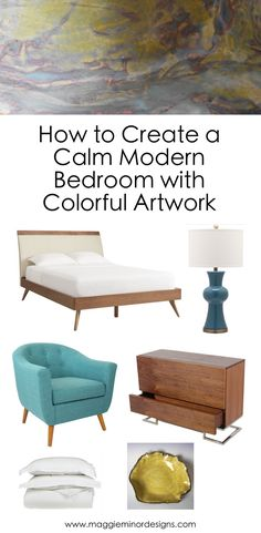 How to Create a Calm Modern Bedroom with Colorful Artwork Pinterest.png
