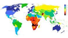 World map of average Life Expectancy
