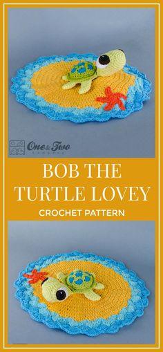 Bob the Turtle Lovey / Security Blanket - PDF Crochet Pattern - Instant Download - Blankie Baby Blanket #crochet #crochetpattern #lovey #ad #turtle #blanket #crochetblanket #crochetlovey