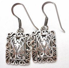 Vintage Sterling Silver Open Work Earrings Dangle Pierced Drop 925 Jewelry    Jewelry & Watches, Vintage & Antique Jewelry, Fine   eBay!
