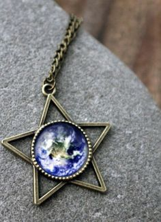 Long Bronze Star Statement Necklace - Pick Your Planet or Nebula Necklace