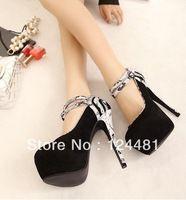 2014 Hot cheap free shipping European and American fashion stitching waterproof Taiwan high heels shoes wholesale 980-18 #
