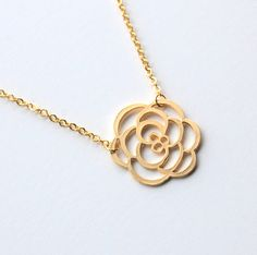 Gold Cutout Rose Necklace,  gift, wedding jewelry, mother, wife, sister, daughter, bridesmaid, birthday, fall fashion, everyday