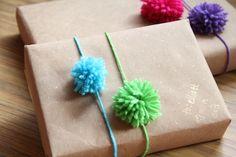 Pom Pom Gift Wrap Idea