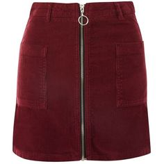 Topshop Moto Zip Through Corduroy Skirt (251895 PYG) ❤ liked on Polyvore featuring skirts, bottoms, burgundy, red skirt, burgundy corduroy skirt, burgundy skirt, topshop skirts and corduroy skirt