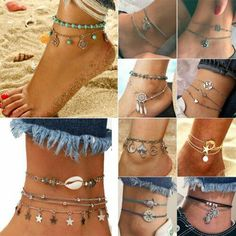From huge statement music groups to delicate succession and only to really double designs, women's anklets come in many varieties. Foot Bracelet, Ankle Bracelets, Bangles, Beach Anklets, Beach Sandals, Women's Anklets, Good Luck Bracelet, Beach Foot Jewelry, Gold Anklet