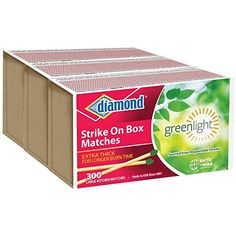 Diamond GreenLightTM Kitchen Matches - 3 Pack - 300 Matches per Pack x 3 = 900 Match (Strike anywhere)  Strike anywhere Greenlight matches.