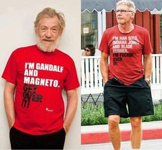 I'm Gandalf and Magneto. Get Over It / I'm Han Solo, Indiana Jones, and Blade Runner. Get Over It - Ian McKellen and Harrison Ford Ian Mckellen, Harrison Ford, Gandalf, Indiana Jones, Films Cinema, Morgan Freeman, Cultura Pop, Blade Runner, Get Over It