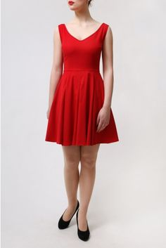 The Haute Red Sandy Dress by BANNOU - Retro style 60's red dress.