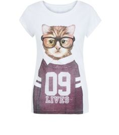 White 9 Lives Cat T-shirt