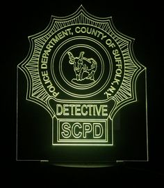 Suffolk County Detective Gift Light - Color Changing Desk Light - Select Design or request your own. Premier Display Inc.