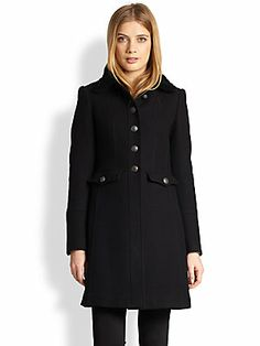 Burberry Brit Shearling-Trim Single-Breasted Coat