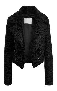 Black Glossy Astrakhan Cropped Jacket by Marc Jacobs - Moda Operandi