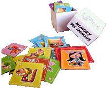 Découpages des dessins des animaux dans le jeu de Mémory avec les instructions et le manuel pour fabriquer sa boîte de rangement