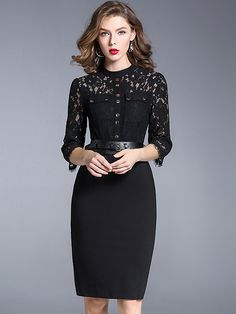 Elegant O-Neck 3/4 Sleeve Lace Stitching Bodycon Dress from DressSure.com #dresssure #fashion #dresses #HighQuality
