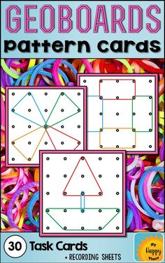 Geoboards Pattern Cards - A great center for geometry/shapes in pre-K, kindergarten, and 1st grade!