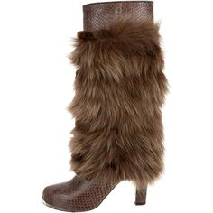 Pre-owned Devi Kroell Python & Fur Boots ($480) ❤ liked on Polyvore featuring shoes, boots, brown, brown fur boots, brown shoes, devi kroell shoes, snake print boots and devi kroell