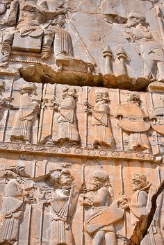 One of numerous examples of bas-relief in Persepolis, Iran:  Persepolis was the ceremonial capital of the Achaemenid Empire (ca. 550–330 BC) until its destruction by Alexander the Great, when the city gradually declined over the course of time.