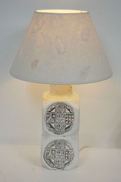 Gorgeous lamp made out of a tin glazed french moon vase vintage retro 1970s large cream pottery table lamp abstract design fwo rewired keyboard keysfo Images