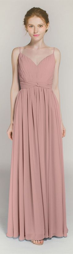 dusty rose spaghetti straps long bridesmaid dresses TBQP368