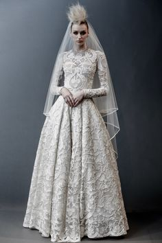 naeem khan spring 2019 bridal long sleeves jewel neck full embellishment modest princess ball gown a line wedding dress covered lace back sweep train mv -- Naeem Khan Spring 2019 Wedding Dresses Naeem Khan Wedding Dresses, Naeem Khan Bridal, Modest Wedding Dresses, Bridal Dresses, Dresses Dresses, Couture Dresses, Wedding Gowns, Lace Wedding, Long Sleeve Wedding