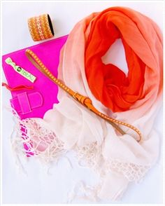 Gypsy05 Crochet Fringe OM Ombre Scarf Neon  belt, Kitsch Hair Ties, and Neon Pink Ipad case