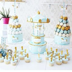 carousel cake party table