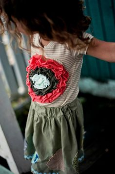 Peony Tee // Embellished Flower Girls Tee by MaggieBogart on Etsy, $38.00