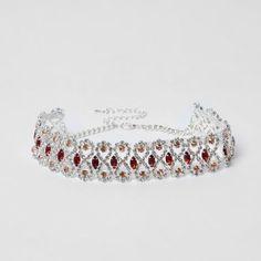 River Island Womens Silver tone rhinestone red jewel choker