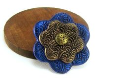 Flower Brooch Pin~ Polymer Clay Jewelry Brooch~ Jewelry Accessory~ Blue and Gold Brooch~ Modern Boho Rustic Brooch~ Handmade Jewelry by BobblesByCarol on Etsy